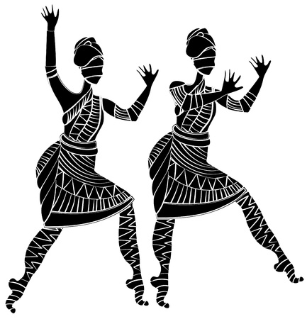 folk dance: women in ethnic style on a white background