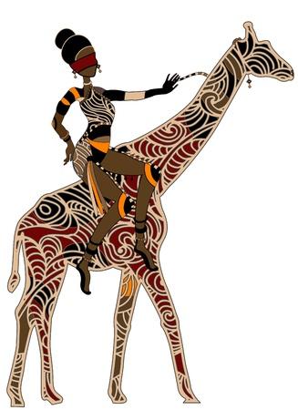 vrouw zittend op de rug van een giraffe in etnische stijl!