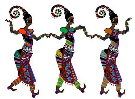 traditional dance: Donne in ballo stile etnico su uno sfondo bianco