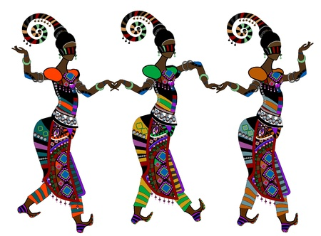 zulu: Women in ethnic style dancing on a white background