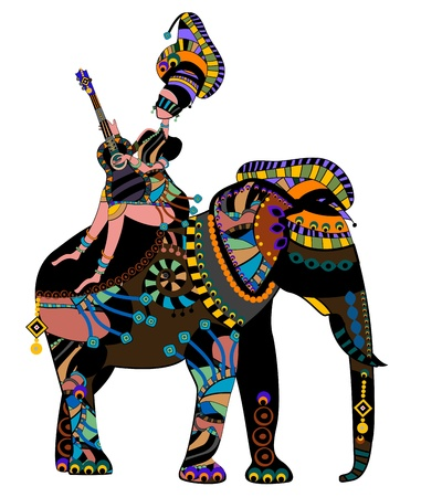 indigenous: woman sitting on the back of an elephant in ethnic style Illustration