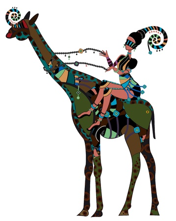 folk art: Woman in ethnic style sits on the back of a giraffe