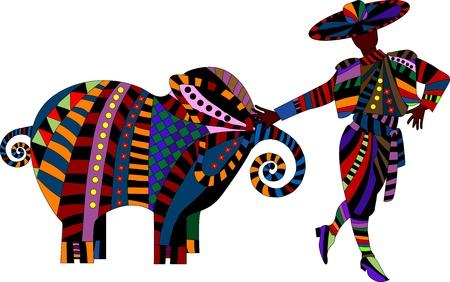 ilustraciones africanas: elefante y un hombre en ropa brillante