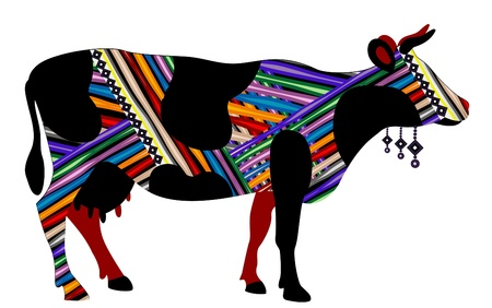cow in ethnic style with a white background Vector