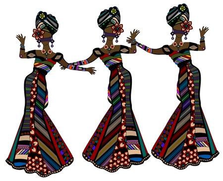 belle donne in abiti in stile etnico ballare su uno sfondo bianco Vettoriali