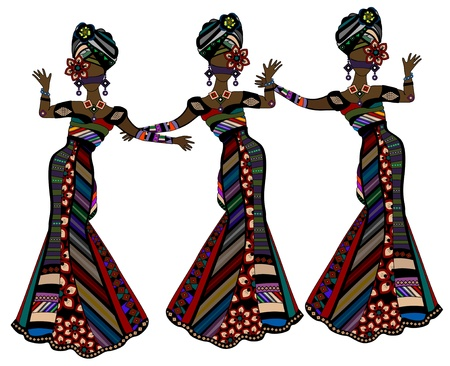 african culture: women in beautiful dresses in ethnic style dancing on a white background