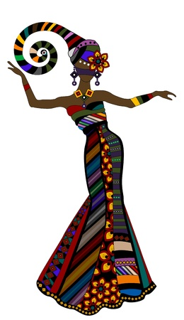 design costume: woman in a beautiful dress in ethnic style with a white background Illustration