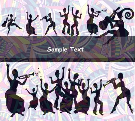 danza africana: alegre fondo festivo de los diferentes elementos