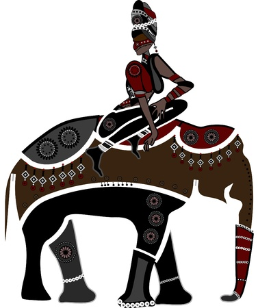 african culture: Ethnic woman sitting on the back of an elephant Illustration