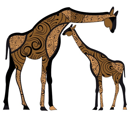 two giraffes in ethnic style with a white background Stock Vector - 17965857
