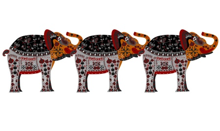 pattern of elephants in the ethnic style with a white background Vector
