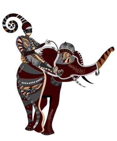 zulu: people sitting on the back of circus elephants in ethnic style