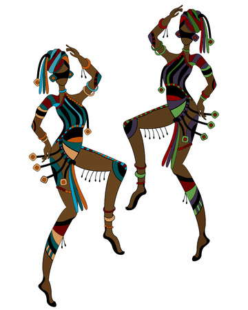 african mask: Women in ethnic style dancing their religious dance Illustration