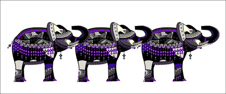 pattern of elephants in the ethnic style with a white  Vector