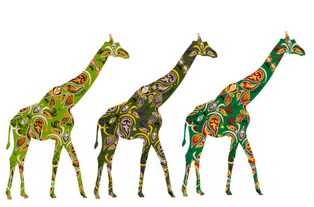 camelopard: abstract giraffe in ethnic style on a white