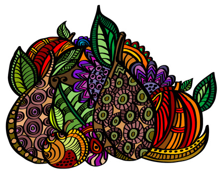 exotic fruit: Exotic fruit in vintage style Illustration