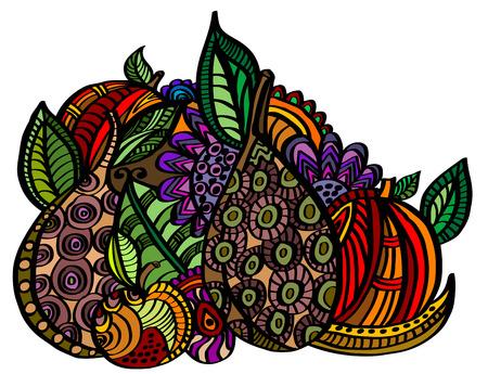 Exotic fruit in vintage style Illustration