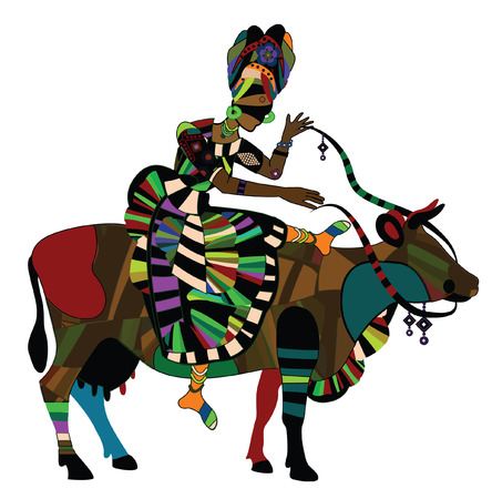 african art: woman in the ethnic style on the back of a cow Illustration