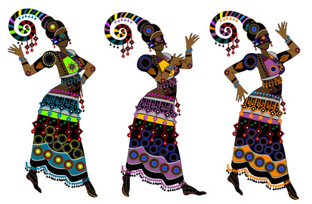 folk dance: Women in ethnic style dancing on a white background