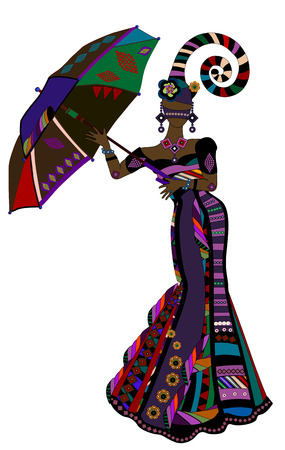 coquetry: fashionable woman in ethnic style with an umbrella  Illustration