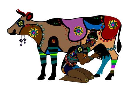 vaca: Mujer en estilo étnico ordeña una vaca en un fondo blanco