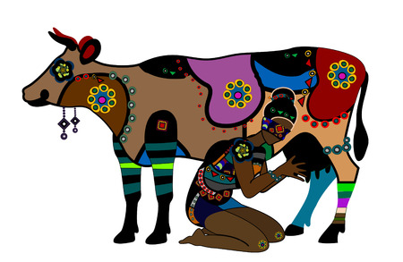 female animal: Woman in ethnic style milks a cow on a white background