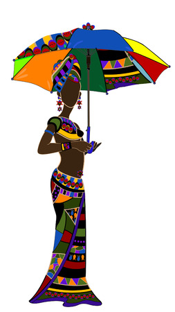 dexterity: ethnic young woman with an umbrella in hand Illustration