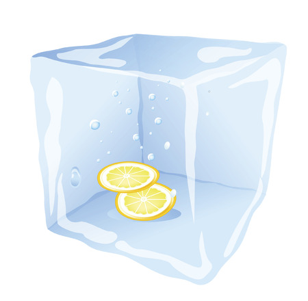 refrigerate: ice with a lemon inside on a white background