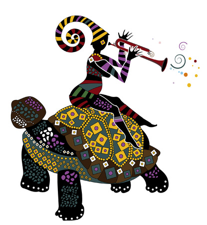 dexterity: man sitting on the back of a big turtle in ethnic style