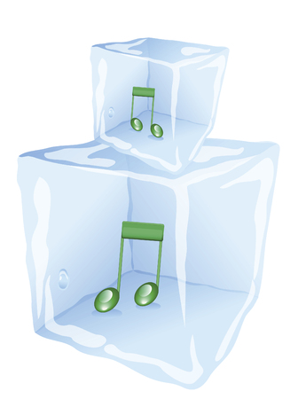 refrigerate: cold ice frozen to the music inside on a white background