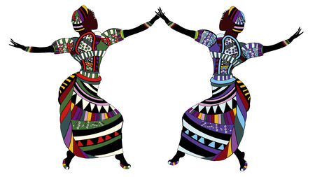 traditional pattern: women in beautiful clothes dancing on a white background Illustration