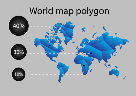 World map polygon design elements for infographic Illustration