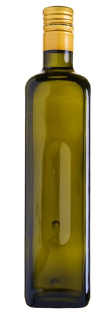 Close up of a olive oil bottle isolated on white Stock Photo