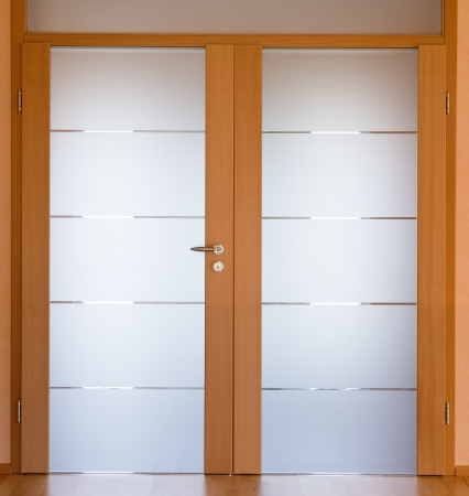 glass door: View of a modern living room door Stock Photo