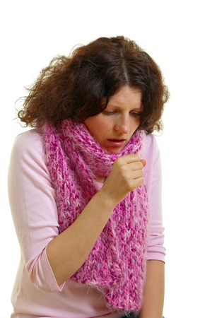 Coughing woman isolated on white background photo