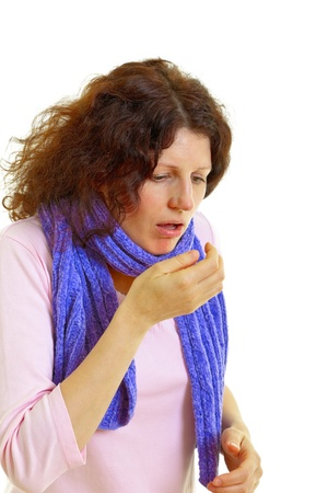 Young woman with brown hair has a flu, isolated on white background, studio shot.