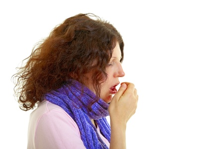 Young woman with brown hair has a flu, isolated on white background, studio shot. Standard-Bild