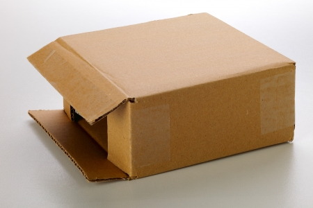 dff image: A cardboard box isolated on grey background
