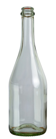 Empty champagne glass bottle isolated on white background. 2 images stitched - original size, DFF image, Adobe RGB