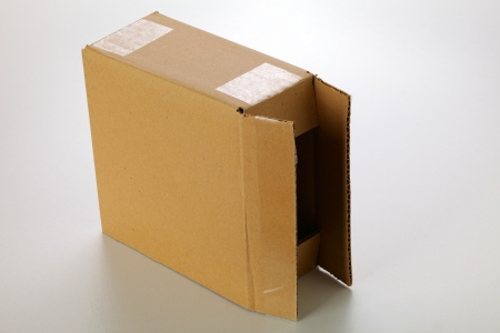 focus stacking: A cardboard box isolated on grey background