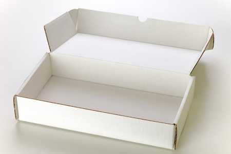 A open white cardboard box isolated on grey background