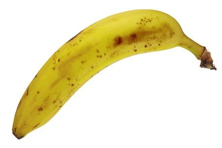 focus stacking: Ripe banana fruit isolated on white background, DFF image, Adobe RGB
