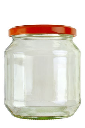 Close up of a empty preserving glass isolated on white, Adobe  RGB