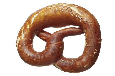 dff image: Close up  of a pretzel with salt, isolated on white Stock Photo