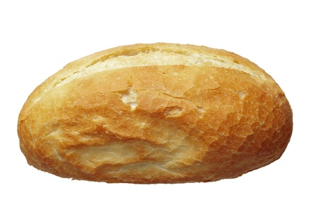 Cerca de un rollo de pan aislado en blanco