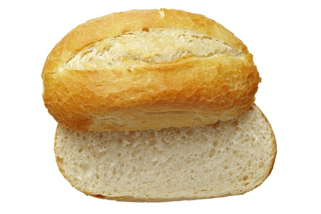 Close up of a bread roll isolated on white photo