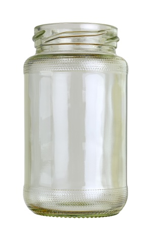 dff image: Close up of a empty preserving glass isolated on white.  Stock Photo
