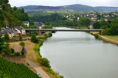 saar: View of the River Saar in the city  Saarburg, Rheinland-Pfalz, Germany, evening.