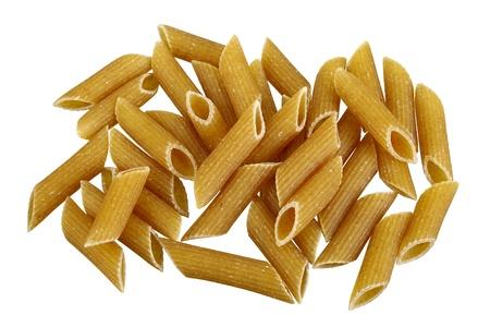 Raw bio whole grain pasta isolated on white background. DFF image,