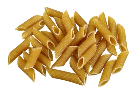 Raw bio whole grain pasta isolated on white background. DFF image,